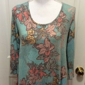 Aryeh Top S Blue Pink Purple Floral Knit